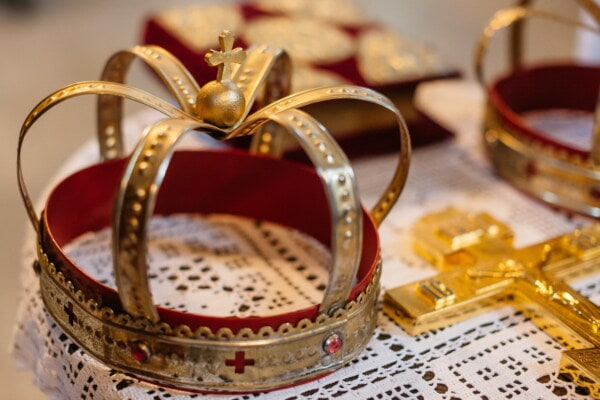 golden shine, crown, cross, gold, religious, coronation, church, jewelry, shining, indoors
