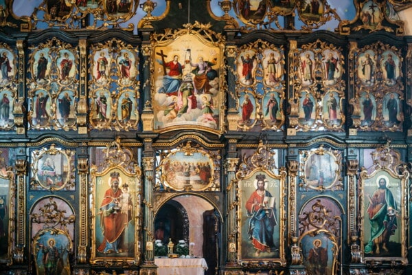 saint, icon, altar, orthodox, church, interior decoration, monastery, fine arts, art, religious