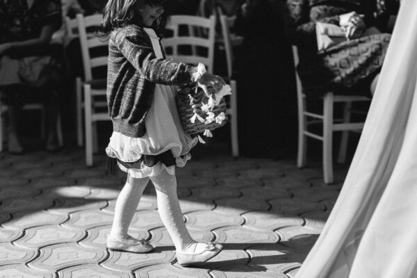 celebration, event, black and white, child, wicker basket, street, people, monochrome, woman, portrait
