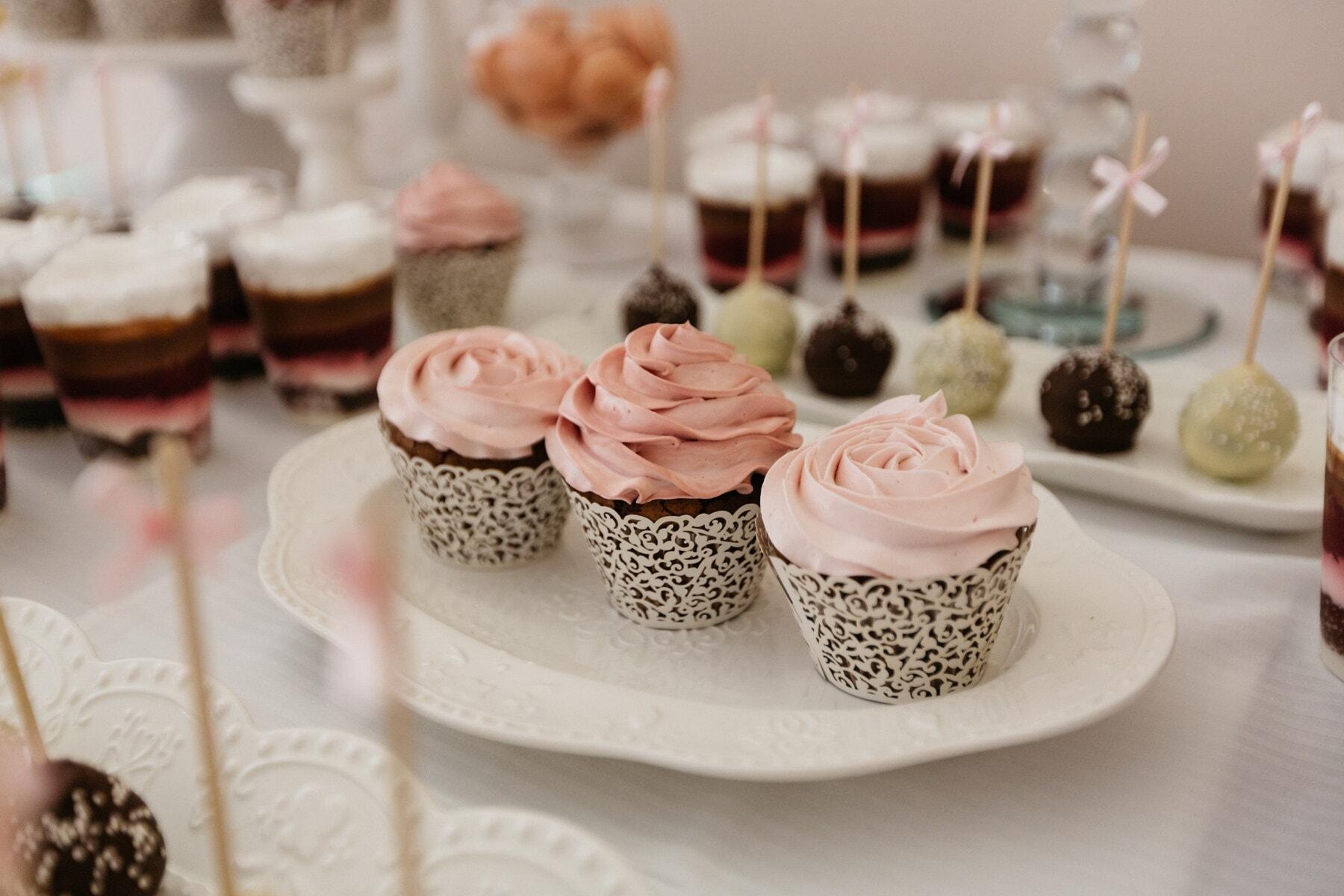 petit gateau, fraise, vanille, crème, pâtisserie, produits de boulangerie, la sucette, alimentaire, dessert, repas