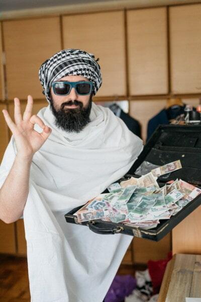 headscarf, businessman, success, beard, mustache, cash, money, banknote, man, portrait