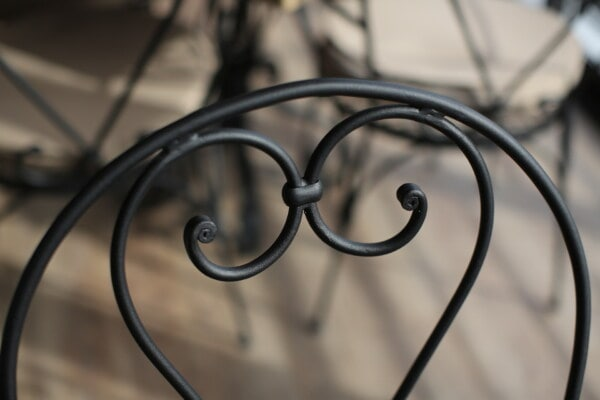 metal, chair, iron, cast iron, craft, curl, handmade, heart, shape, structure