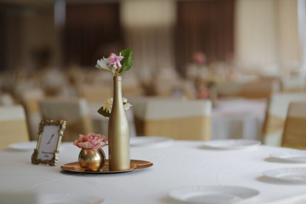 decorative, vase, flowers, wedding venue, bottle, golden shine, hotel, indoors, dining, table