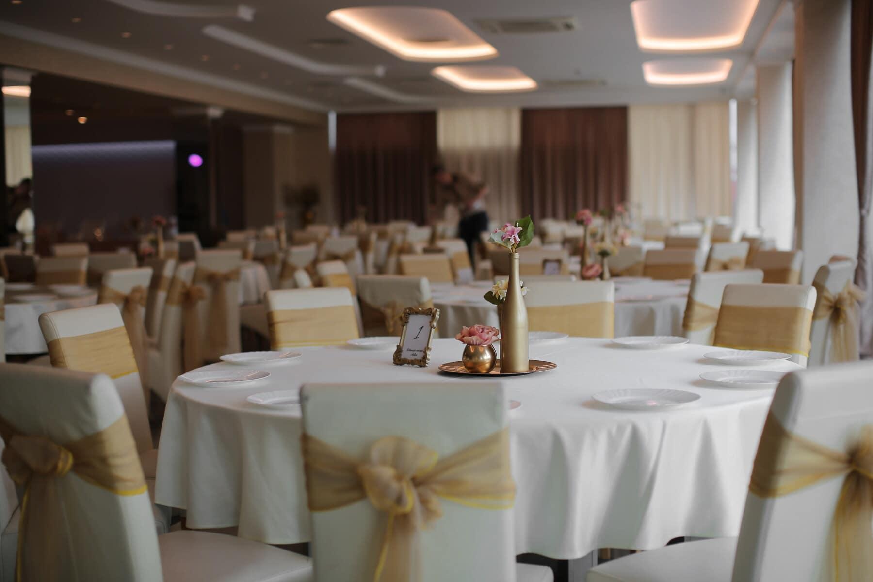 hotel, lunchroom, dining area, golden glow, wedding venue, luxury, indoors, interior design, table, restaurant