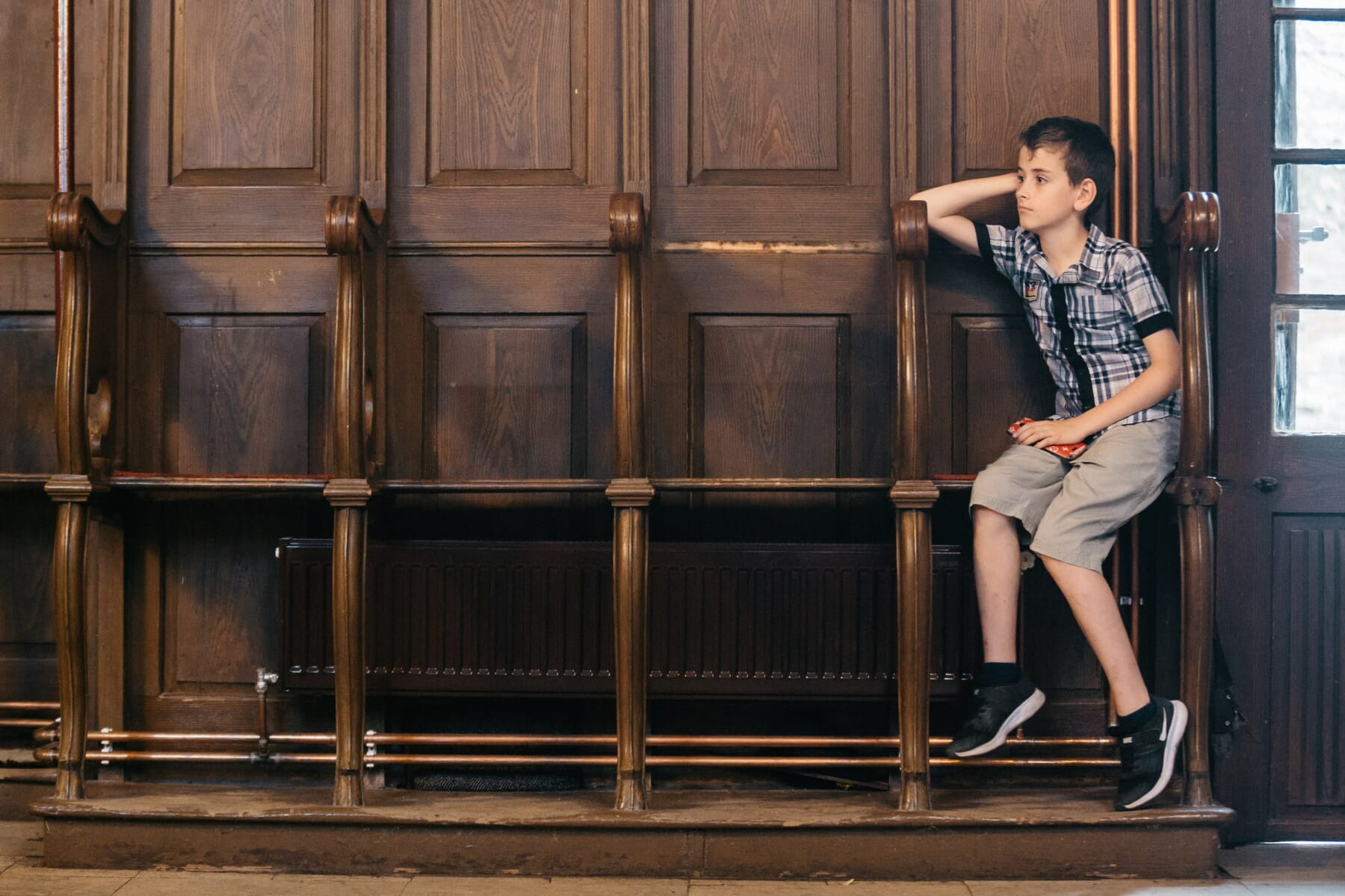 think, teenager, church, sitting, boy, teenage, chairs, side view, portrait, door