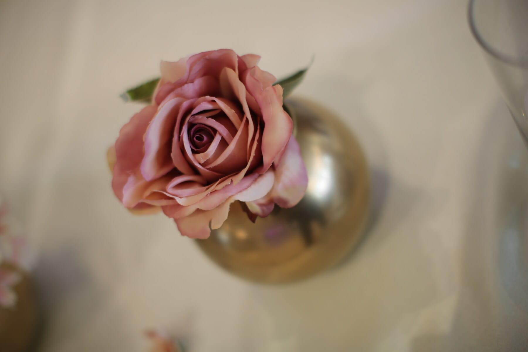 rosâtre, Rose, pastel, élégant, nappe, éclat doré, bol, table, fleur, des roses