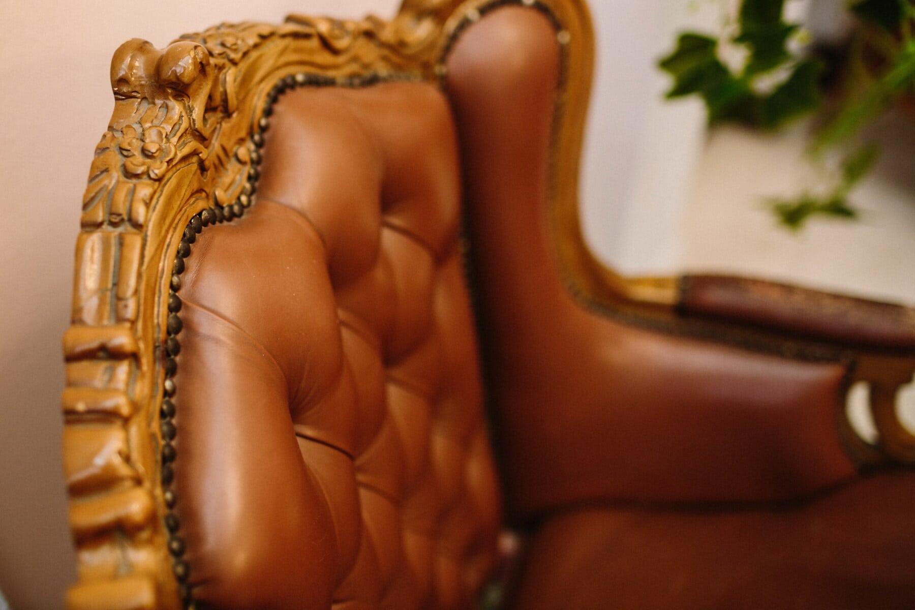 luxe, fauteuil, antiquité, en cuir, sculptures, menuiserie, baroque, fait main, mode, femme