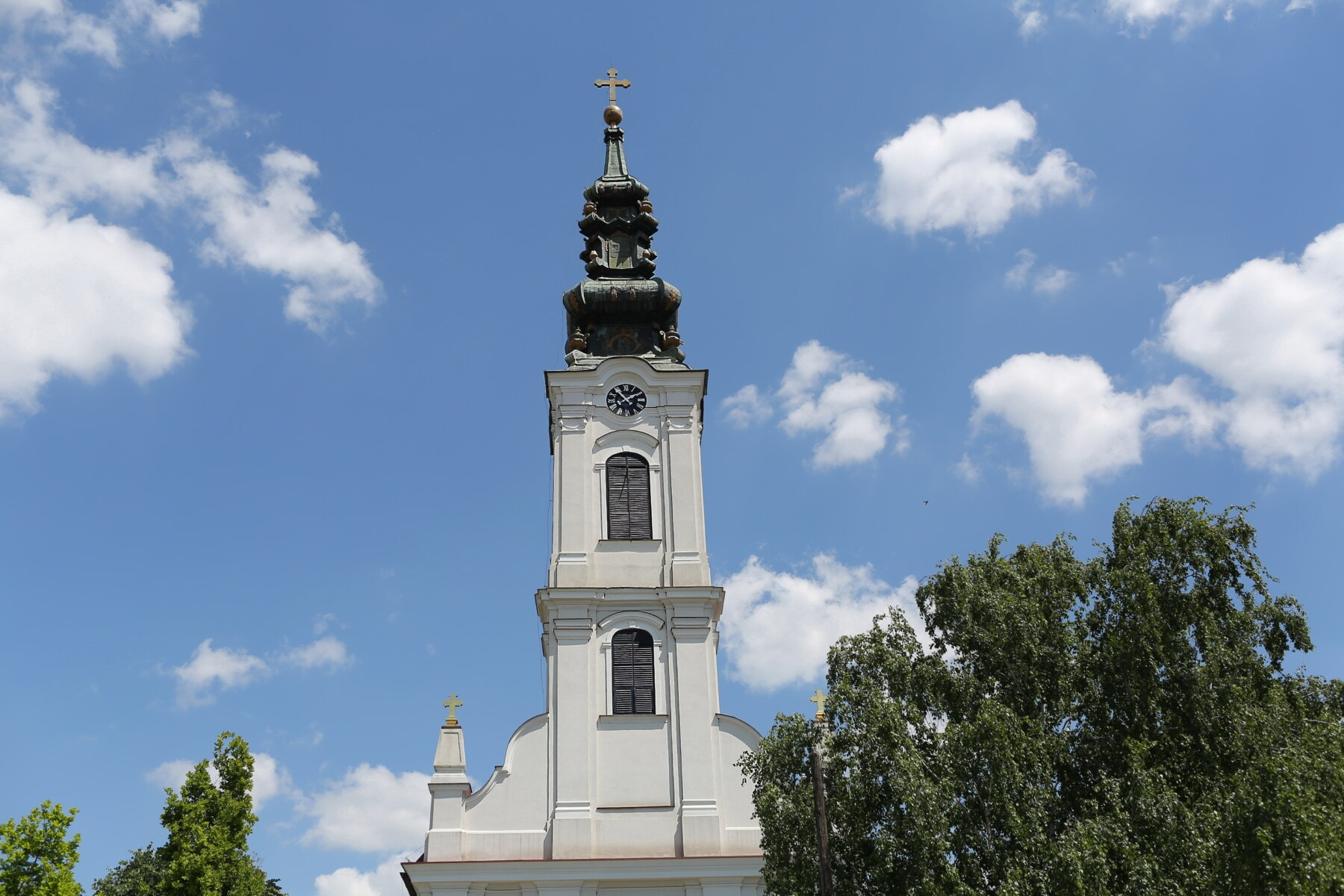 orthodox, church tower, church, tower, white, blue sky, building, religion, architecture, covering