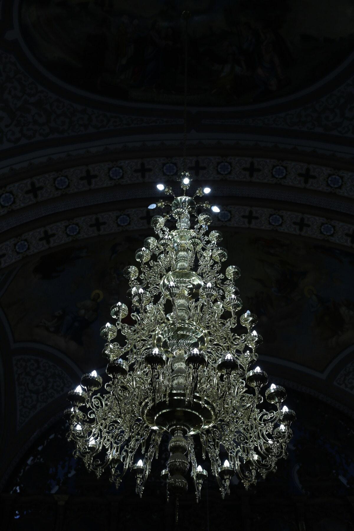 crystal, lustre, décoration d'intérieur, église, religion, cathédrale, architecture, art, lumière, luxe