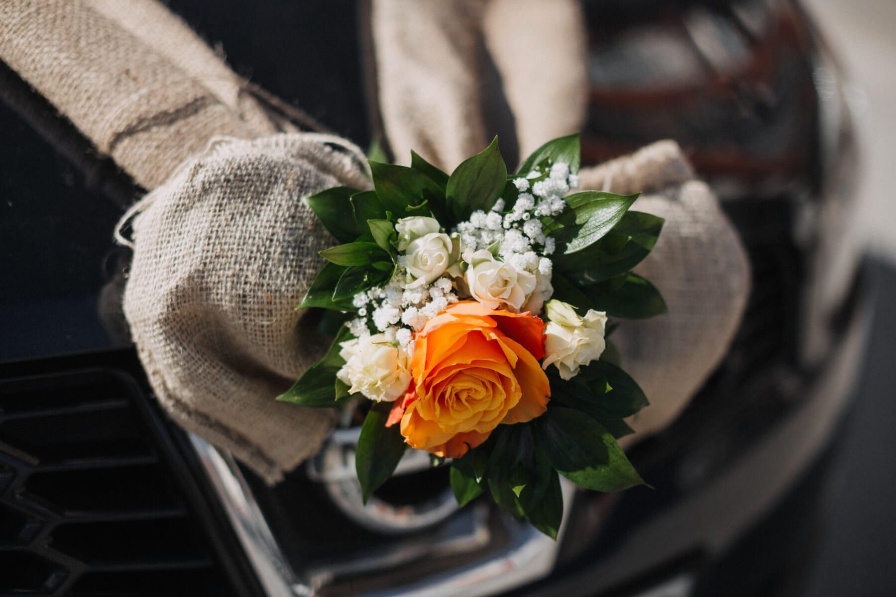 bouquet, jaune orangé, décoration, Rose, romance, fleur, feuille, nature morte, élégant, luxe