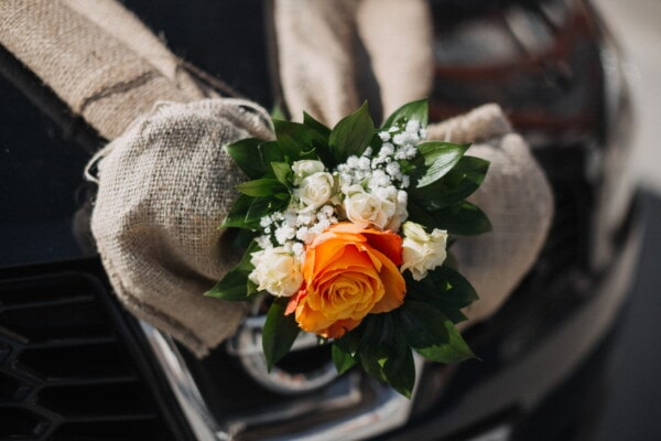 bouquet, orange yellow, decoration, rose, romance, flower, leaf, still life, elegant, luxury