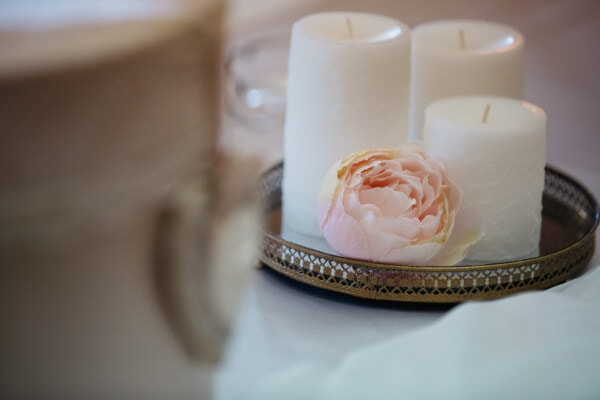rose, pinkish, pastel, candles, white, tableware, still life, candle, flower, indoors