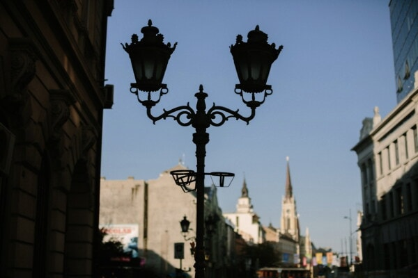 lamp, street, lantern, shadow, silhouette, cast iron, darkness, building, architecture, city