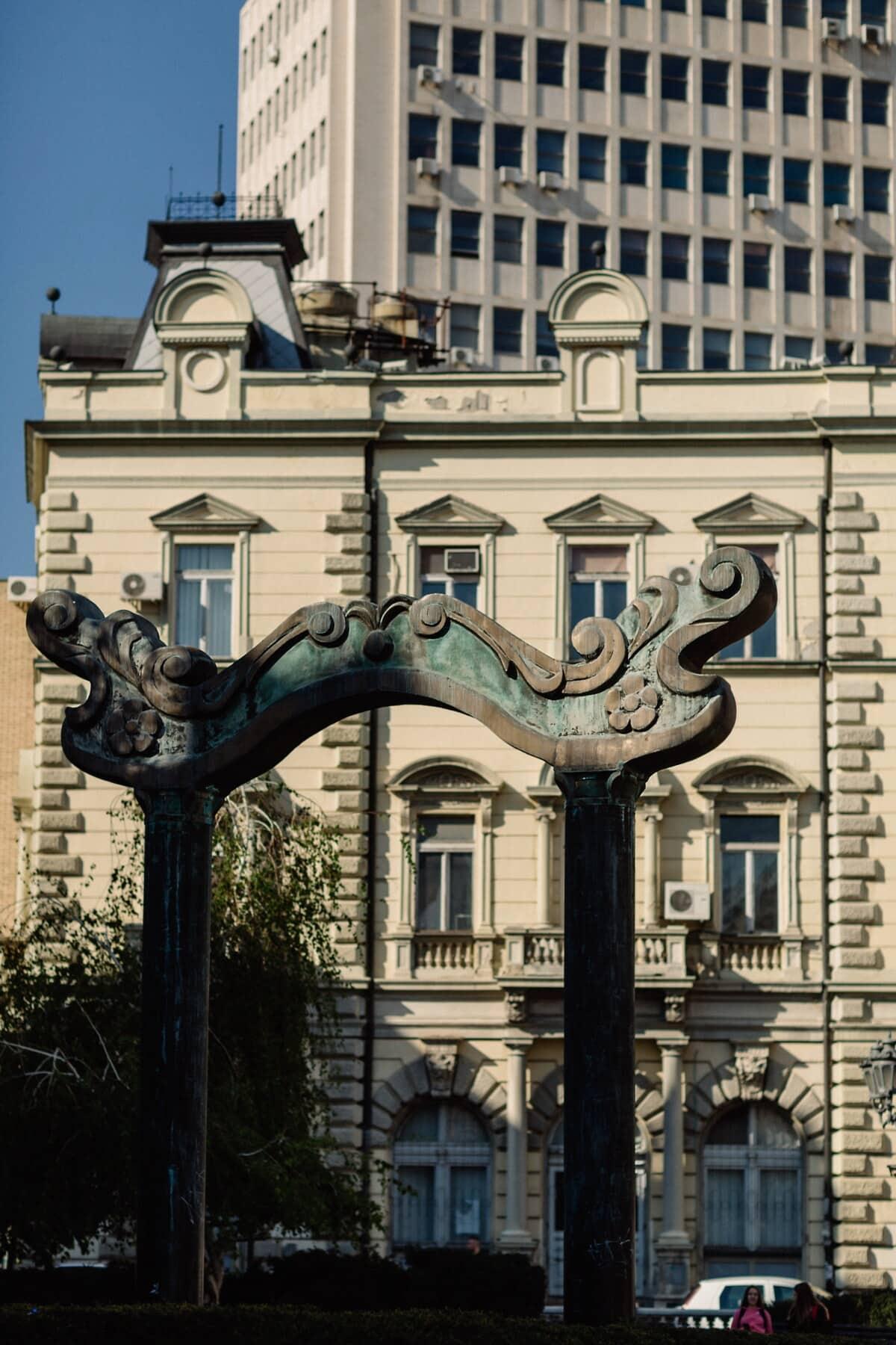 Skulptur, Bronze, Straße, Stil, Chinesisch, Architektur, Gebäude, Stadt, Haus, alt