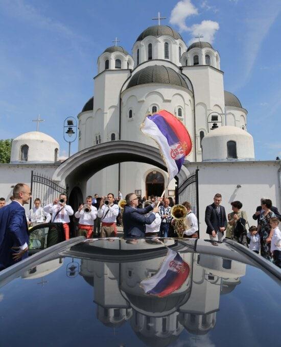 Kirche, Hochzeit, orthodoxe, Serbien, traditionelle, Flagge, Menschen, Turm, Gebäude, Mann