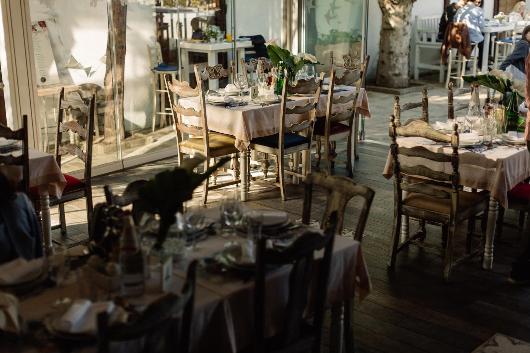 vintage, restaurant, vinicole, chaise, vaisselle, siège, à manger, chambre, table, meubles