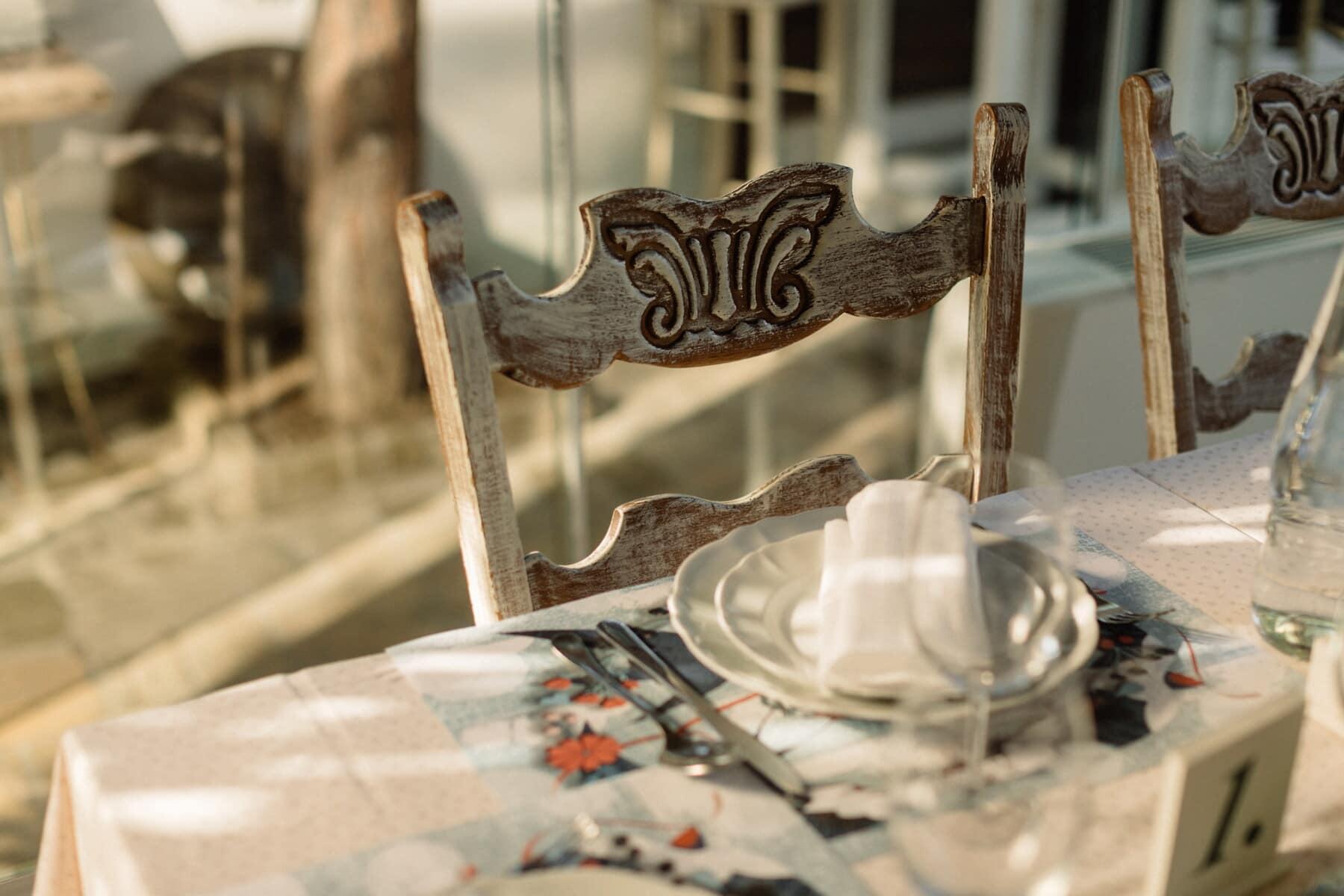 style ancien, chaises, vintage, en bois, sculptures, brun clair, fait main, à l'intérieur, meubles, vieux