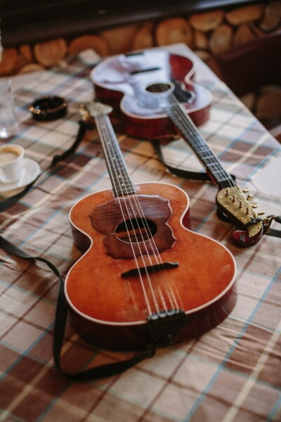 acoustic, guitar, antiquity, handmade, table, tablecloth, musical, wood, musician, instrument
