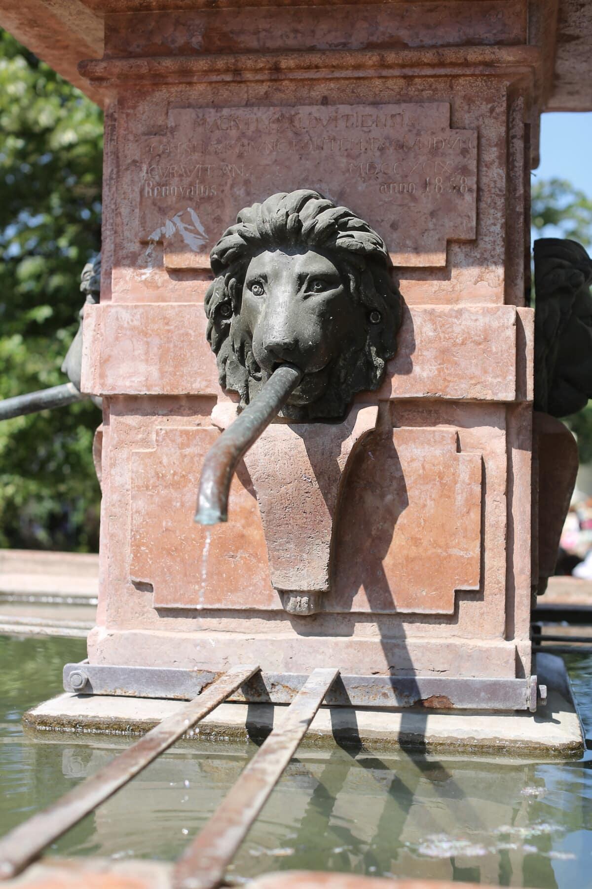 lav, fontana, skulptura, bronca, glava, cijevi, kamen, mramor, postolje, kip