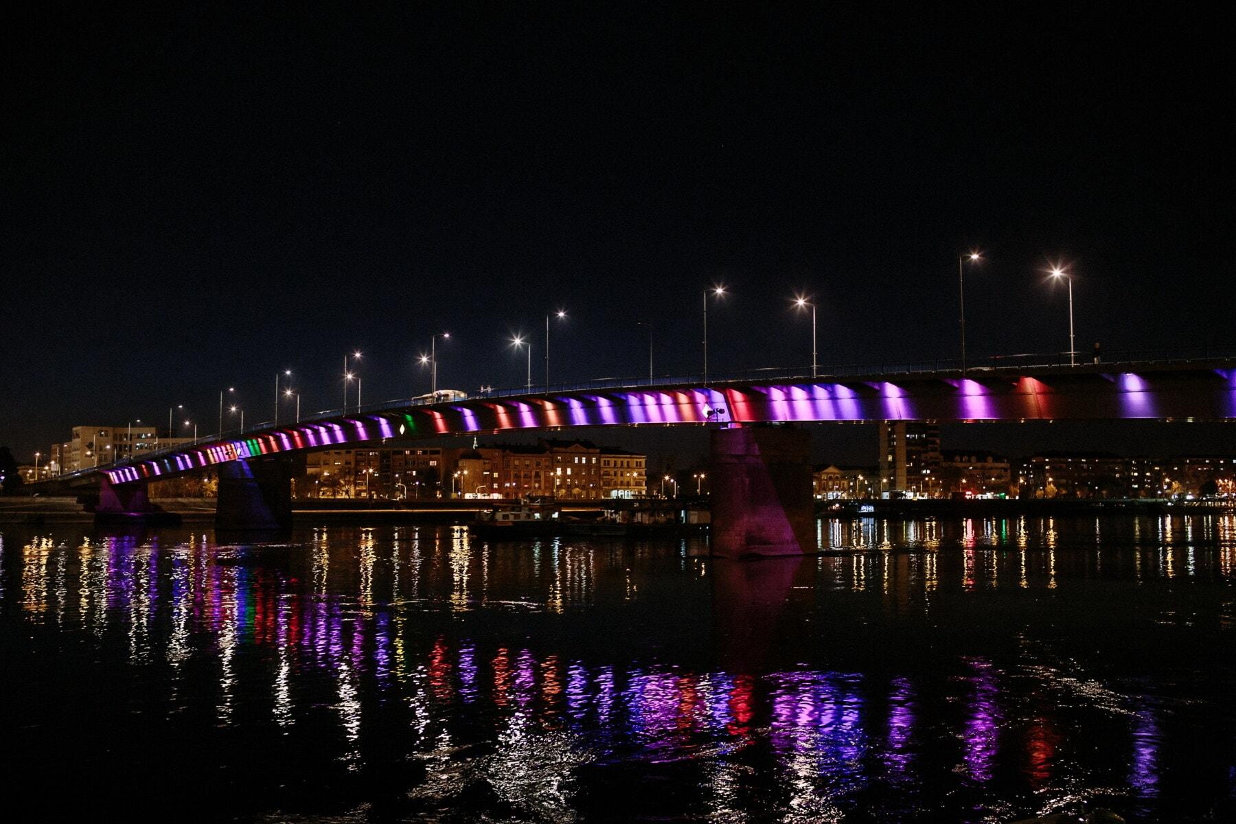 natten, bro, stadens centrum, reflektion, färgglada, floden, staden, natt, pir, vatten