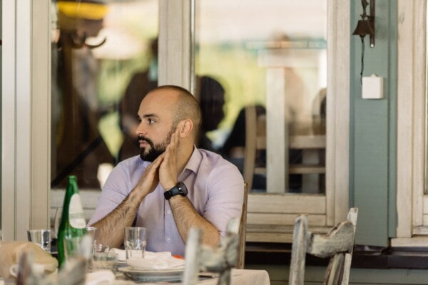 mustache, young, beard, man, businessman, relaxation, restaurant, sitting, cafeteria, casual