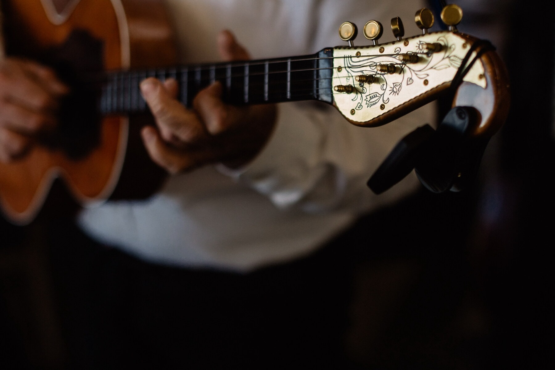 acoustic, guitar, guitarist, gypsy, golden shine, vintage, musical, rock, musician, sound