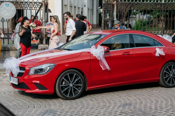 sedan, wedding, car, red, driver, bride, luxury, sports car, automobile, transportation