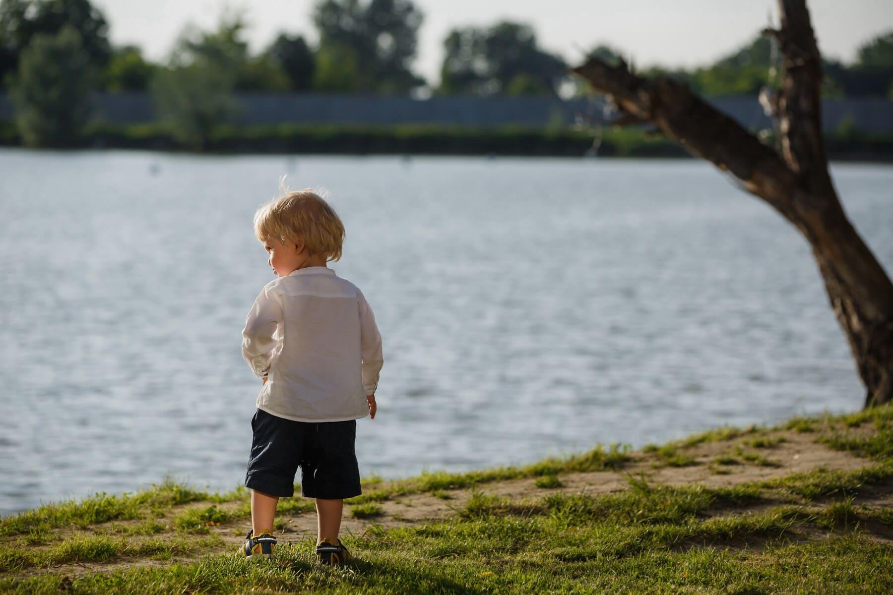 pjokk, Baby, unge, elvebredden, gå, sommersesongen, joggesko, shorts, barn, vann
