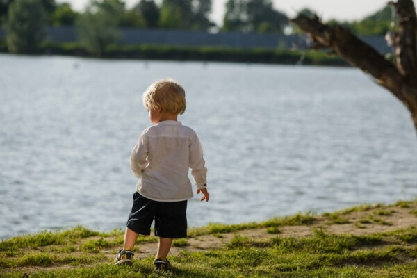 boy, blonde hair, toddler, baby, riverbank, child, water, lake, nature, summer