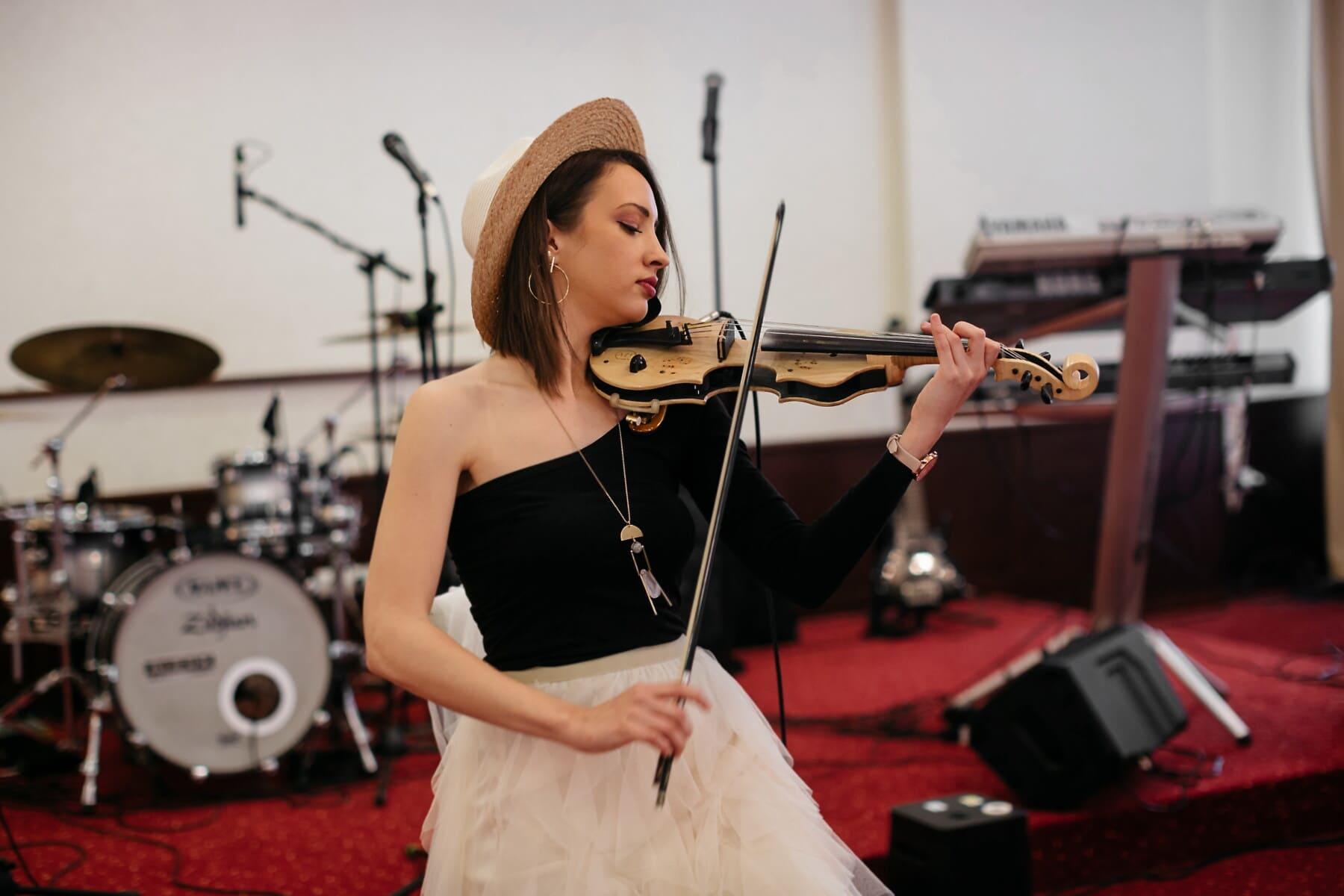 musique, Brunette, Orchestre, Jolie fille, concert, électrique, violon, musicien, performances, femme