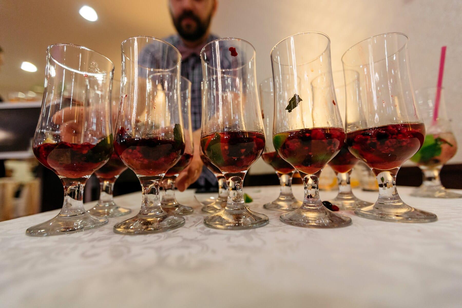 cocktailer, kirsebær, søt, alkohol, nattklubb, bartender, glass, krystall, partiet, drikke