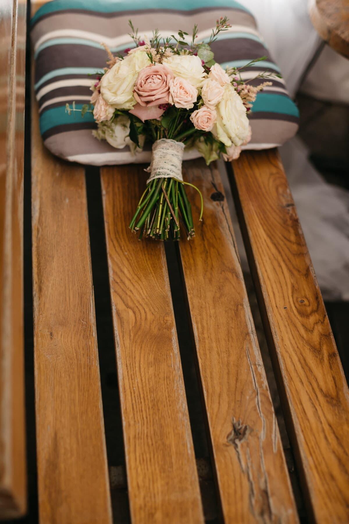banc, en bois, oreiller, bouquet, vintage, des roses, romantique, bois, Design d'intérieur, nature