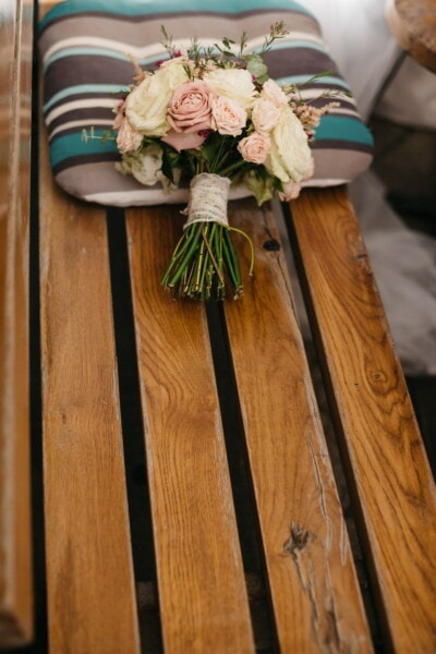 bench, wooden, pillow, bouquet, vintage, roses, romantic, wood, interior design, nature