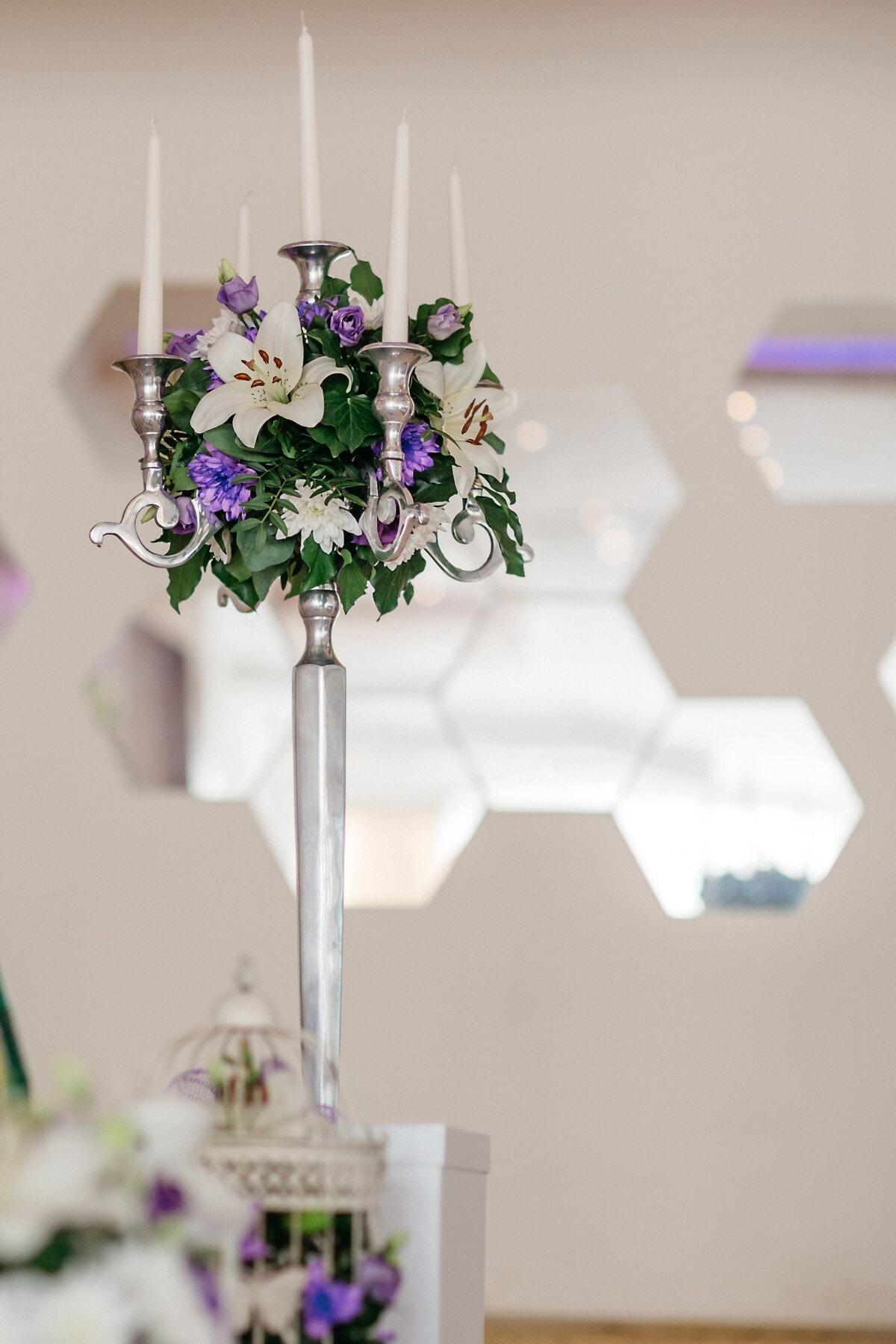 chandelier, Silver, blanc, bougies, fleurs, élégant, violet, fleur, feuille, Design d'intérieur