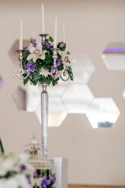 candlestick, silver, white, candles, flowers, elegant, purple, flower, leaf, interior design