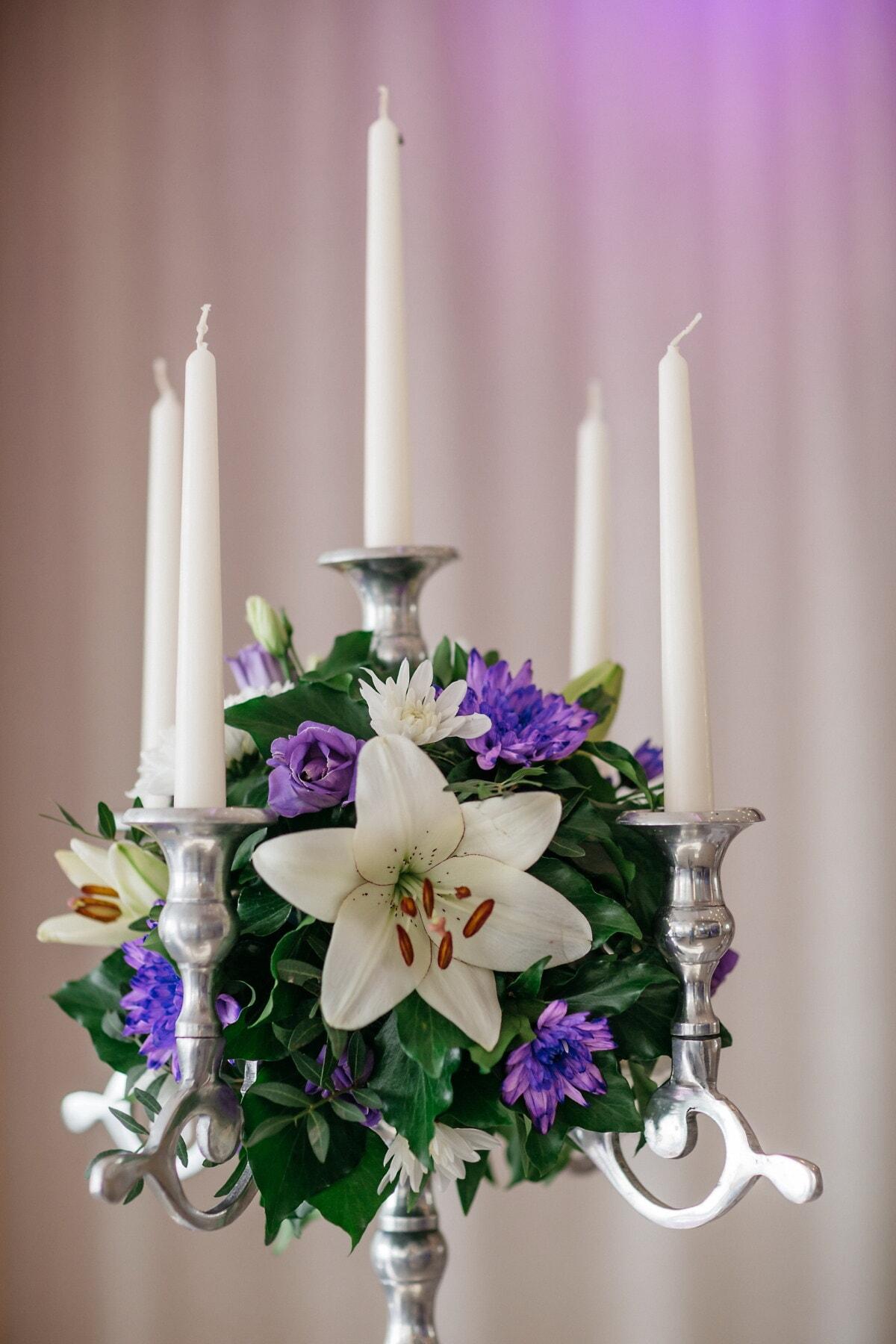 chandelier, romantique, Silver, blanc, bougies, fermer, fleurs, bouquet, élégant, bougie