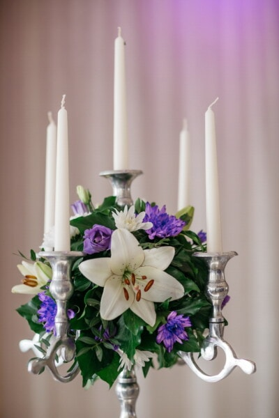 candlestick, romantic, silver, white, candles, close-up, flowers, bouquet, elegant, candle