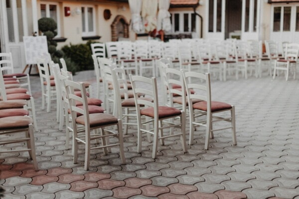 vintage, white, chairs, reception, backyard, chair, patio, furniture, seat, table