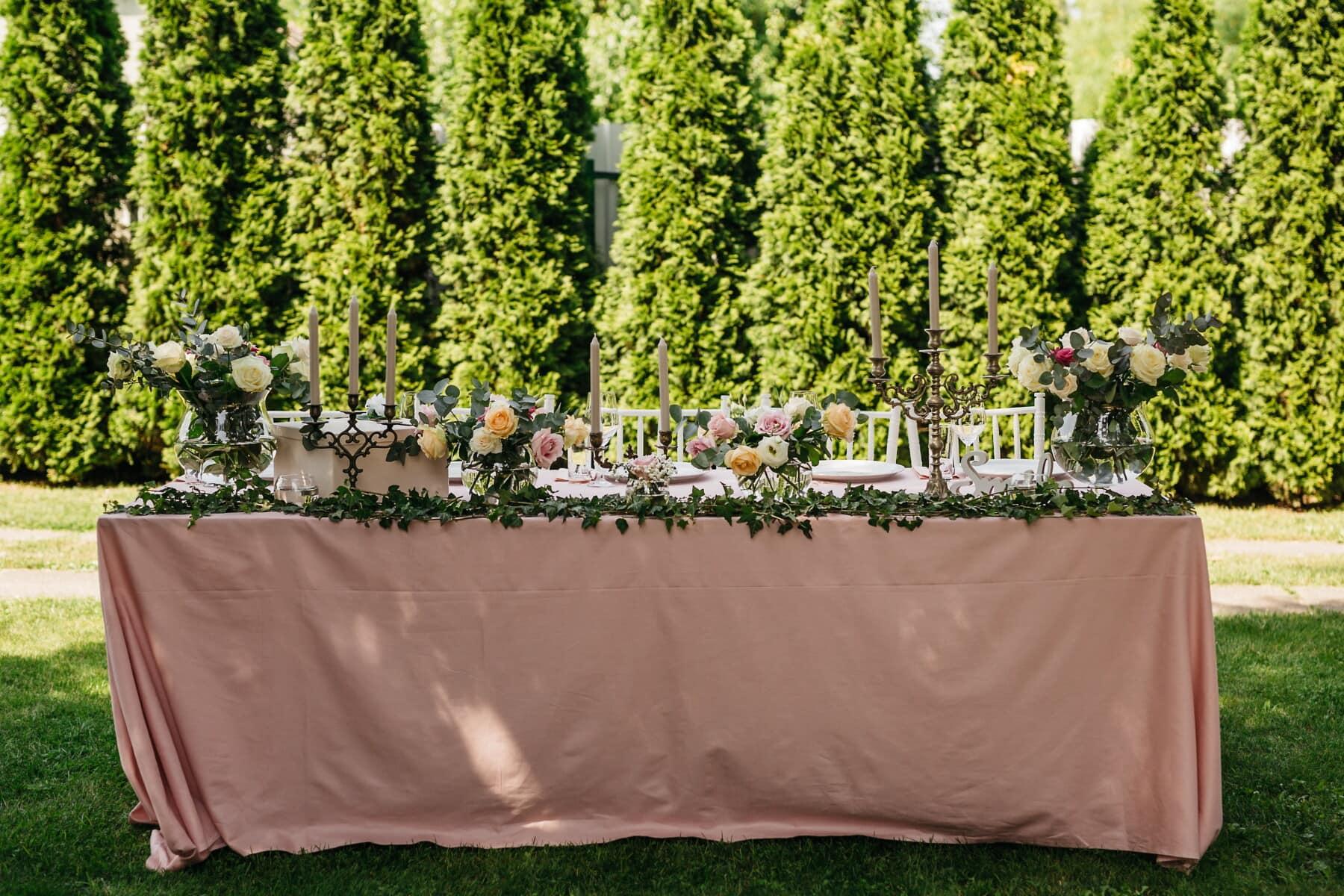 jardin, déjeuner, table, fantaisie, vaisselle, chandelier, arrière-cour, bougies, réception, fleur