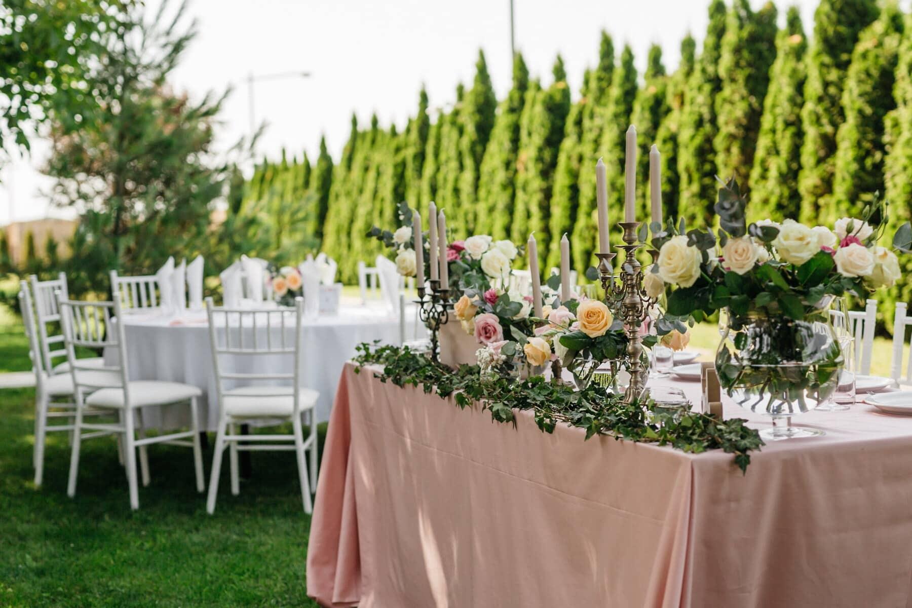 jardin, salle de mariage, tables, bougies, aux chandelles, réception, fleur, à l'extérieur, mariage, à manger
