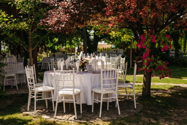 garden, white, table, wedding venue, furniture, chairs, patio, structure, seat, chair