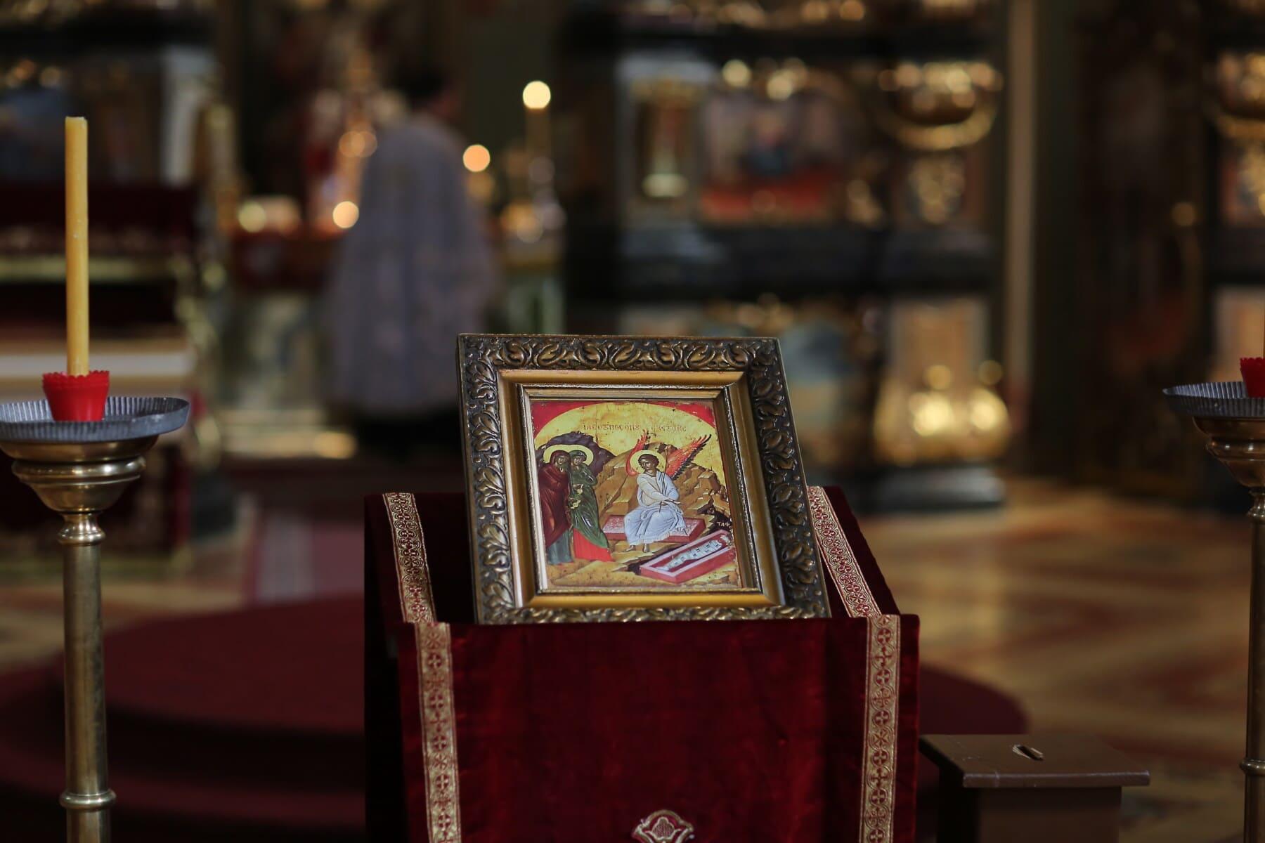 Ukraine, Russe, église, orthodoxe, Saint, icône, bougie, à l'intérieur, Design d'intérieur, religion