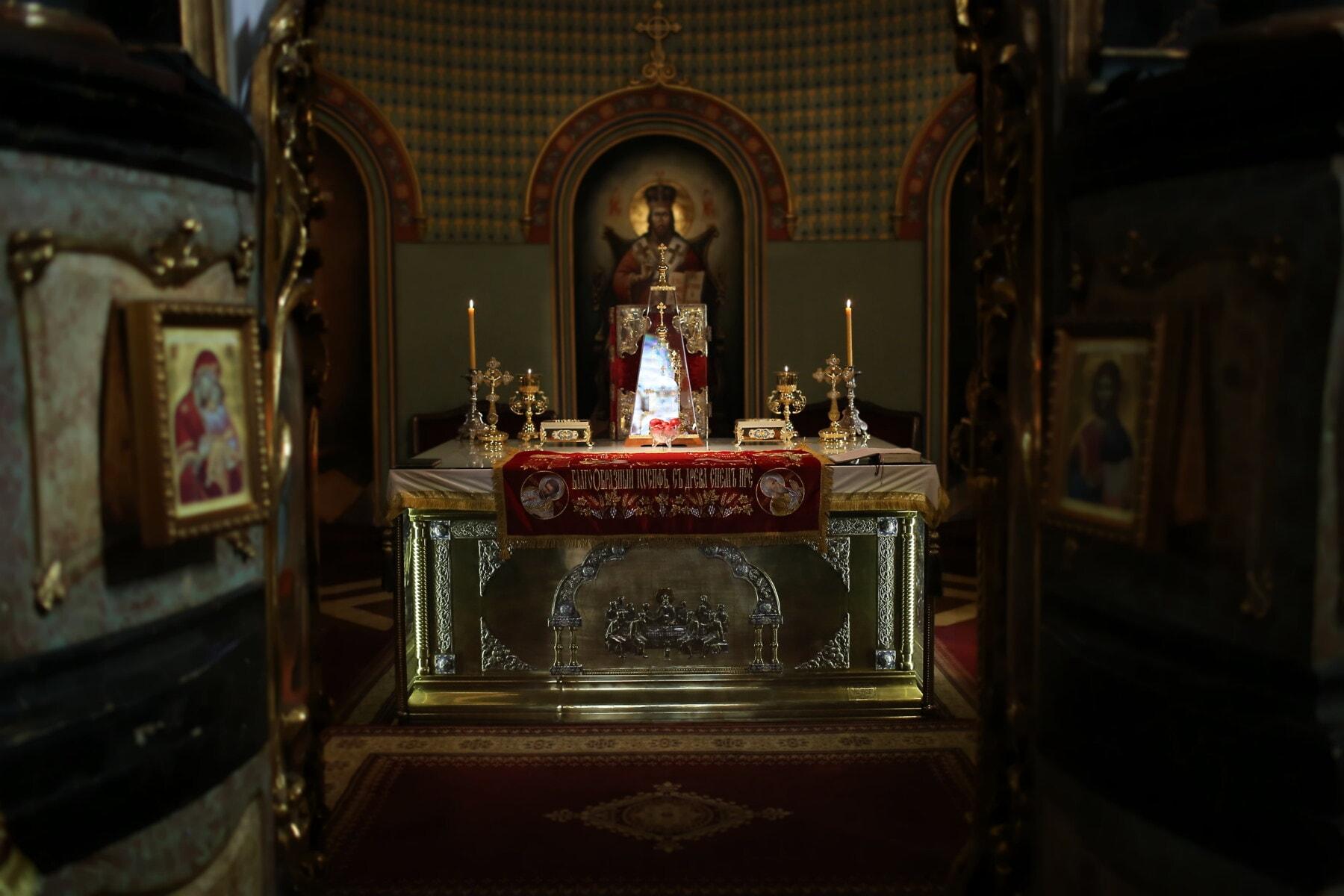 Serbien, orthodoxe, Kirche, Altar, Byzantinische, geistigkeit, Heilige, Symbol, Religion, Kerze