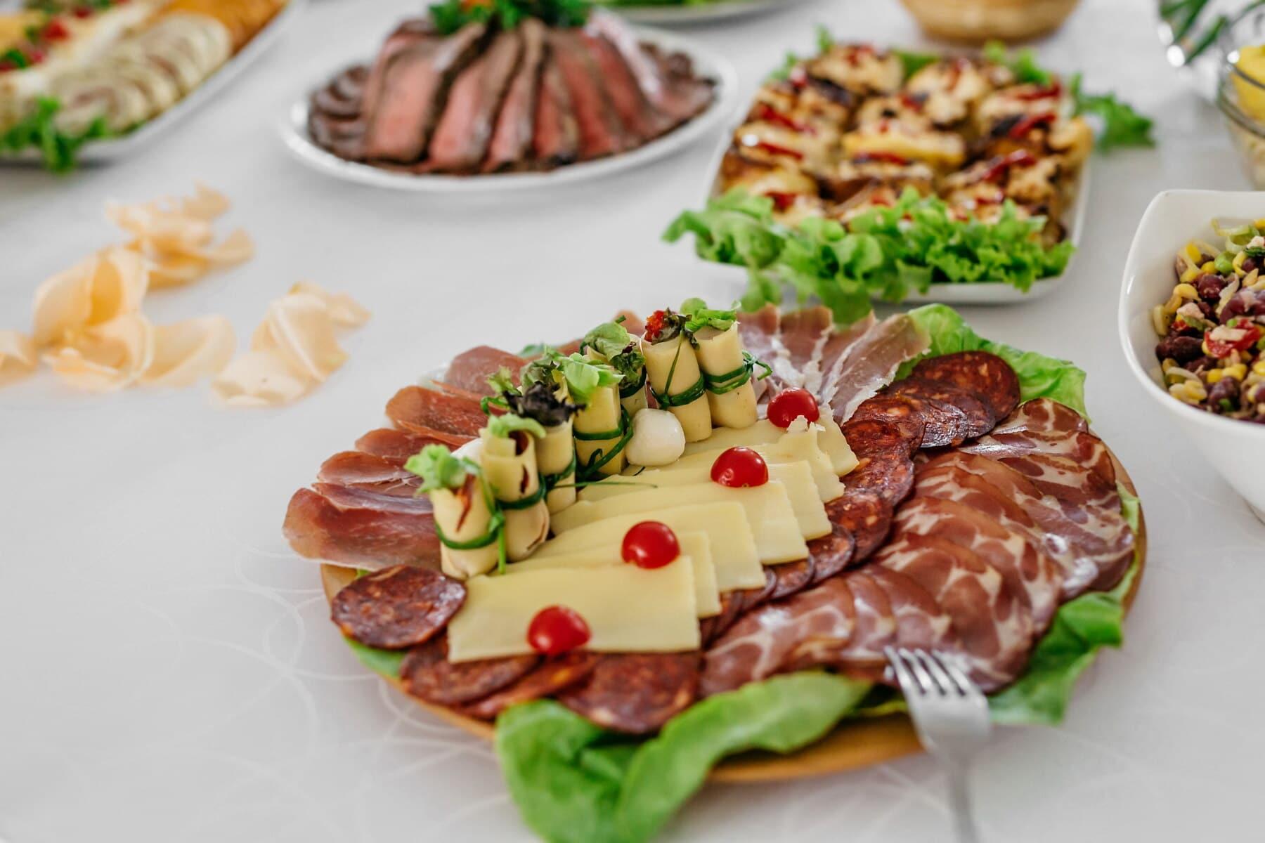 sushi, ham, cheese, sausage, pork loin, pork, appetizer, plate, dinner, lunch