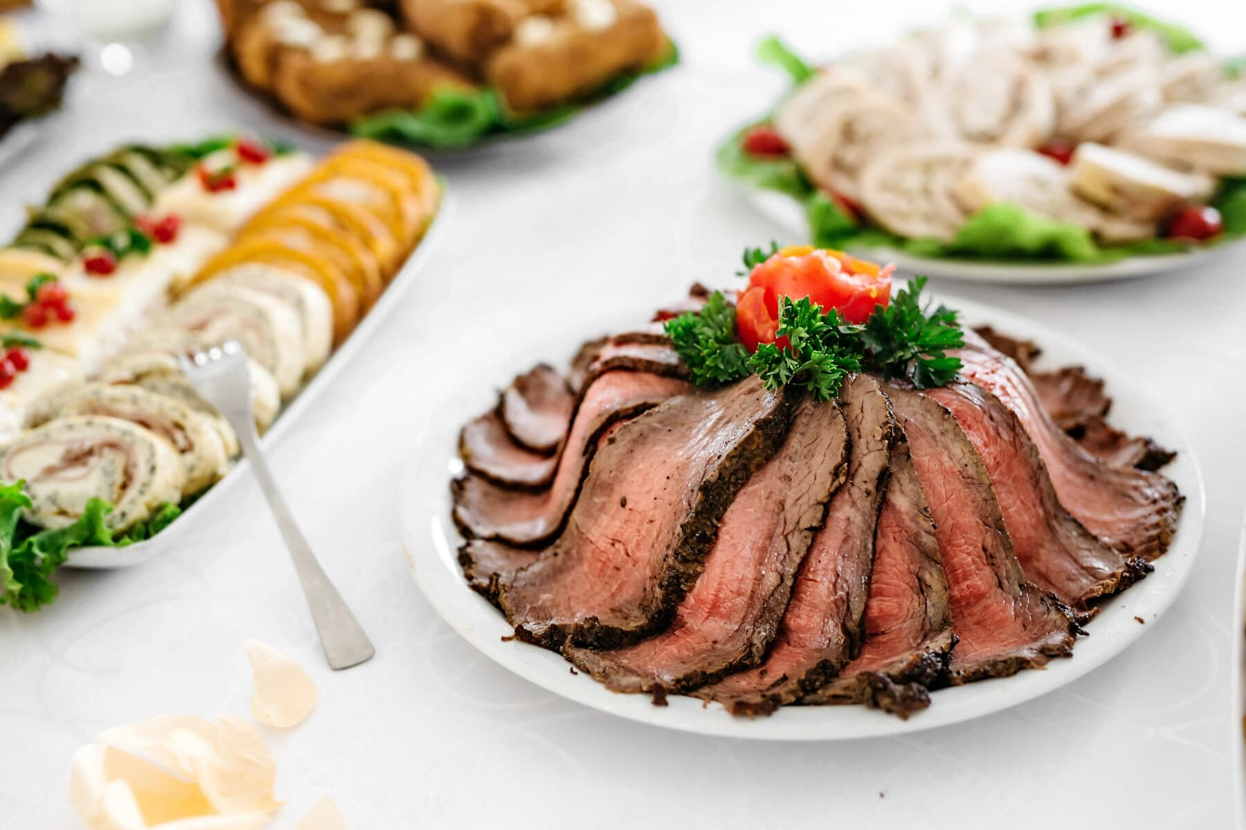 steak, beef, fillet, slices, delicious, dinner, course, dish, sauce, meal