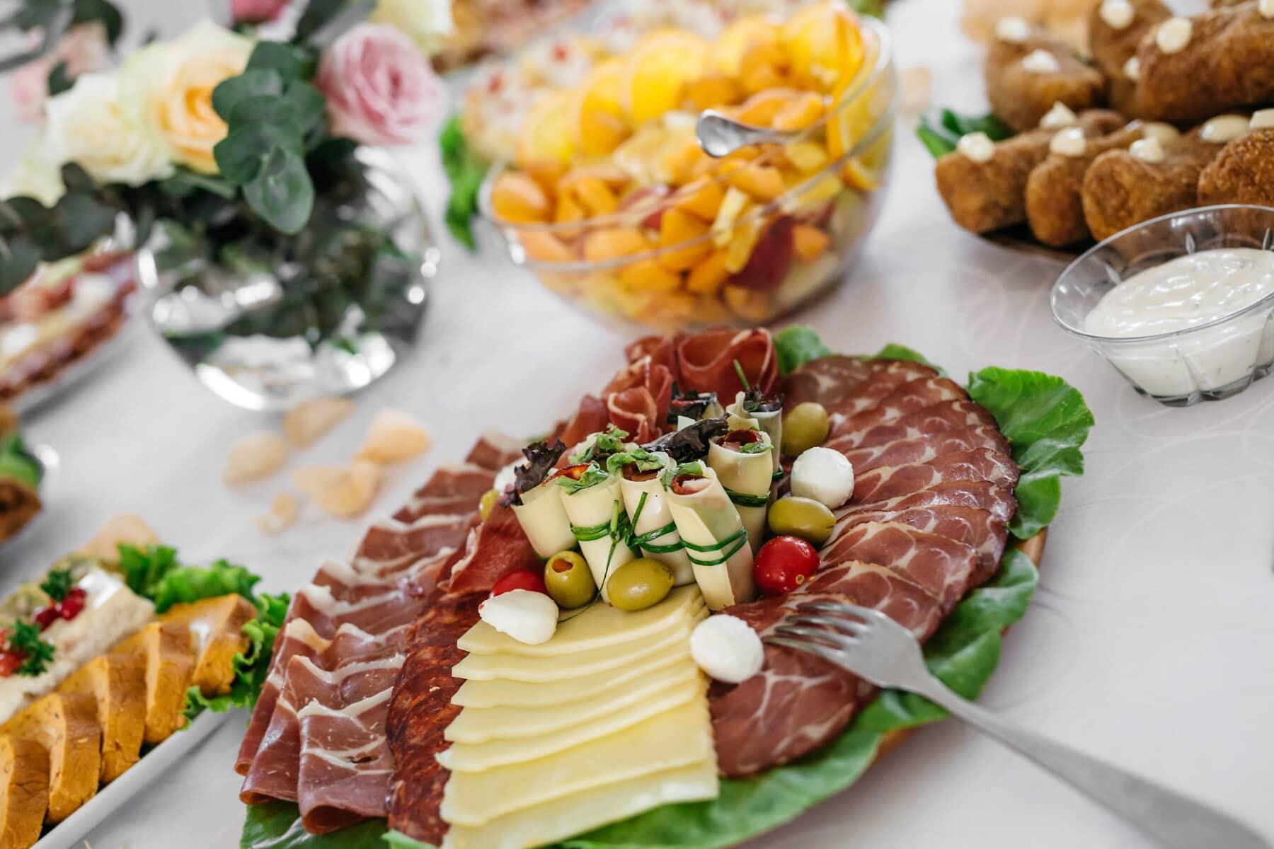 sushi, presunto, queijo, salsicha, refeição, vegetal, almoço, jantar, comida, placa