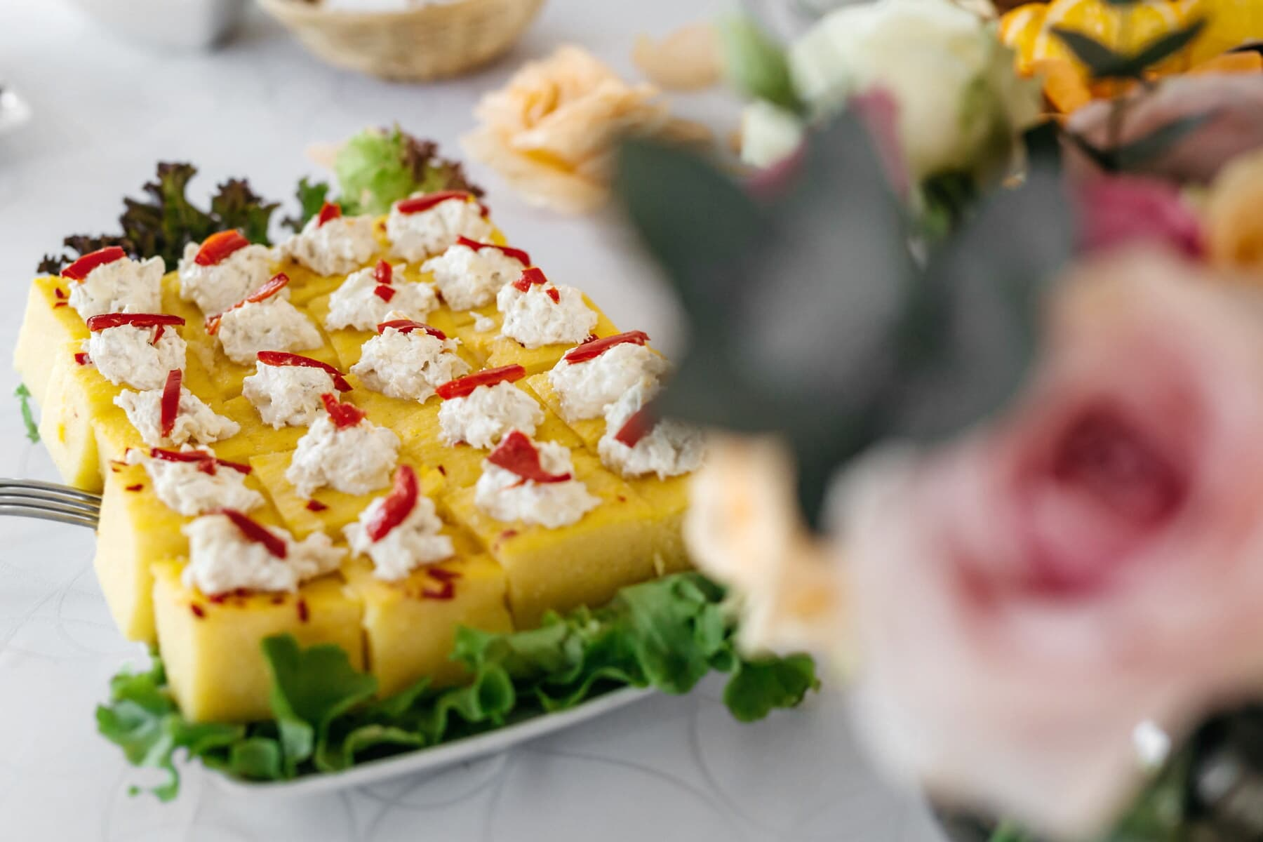 cheesecake, cheese, salad, appetizer, homemade, lettuce, plate, meal, lunch, food