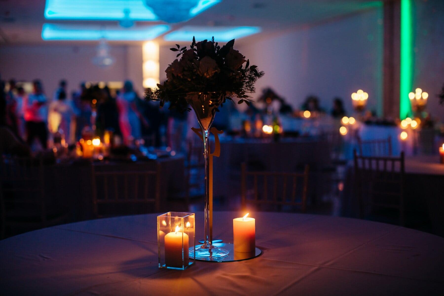 hôtel, romantique, aux chandelles, bougies, atmosphère, événement, parti, fantaisie, lumière, soirée