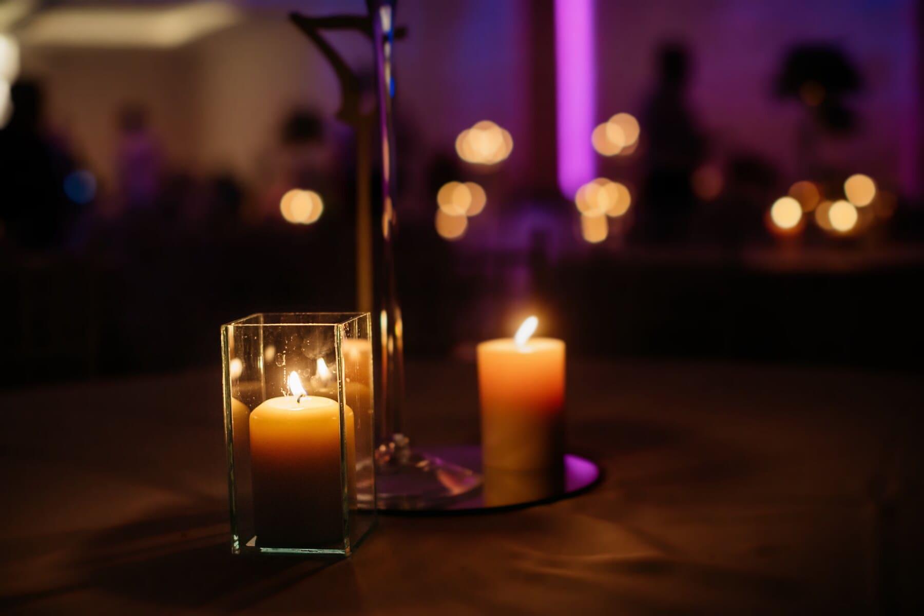 romantique, aux chandelles, bougies, atmosphère, crystal, fantaisie, chandelier, fermer, transparent, illumination