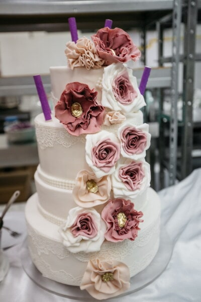 flowers, cake, pinkish, pastel, cake shop, wedding cake, kitchen table, kitchen, rose, romance